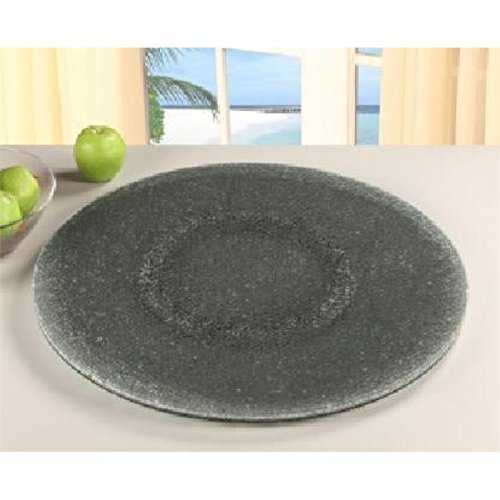 Chintaly Imports Lazy Susan Rotating Tray, 24-Inch, Gray Tinted Glass/Sandwich