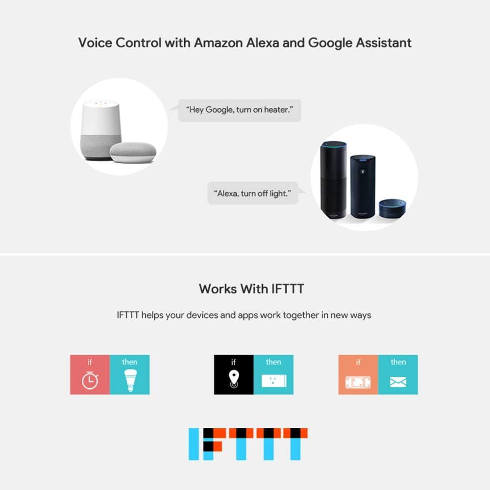 interruptor inal/ámbrico con protecci/ón contra sobrecarga Consumo de energ/ía Control de voz del monitor Compatible con  Alexa Google Home Assistant Donpow R2 WIFI Smart Switch 2Pack