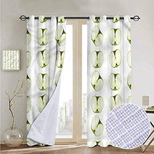 NUOMANAN Modern Farmhouse Country Curtains Apple,Orchard Produce Halves,Design Drapes 2 Panels Bedroom Kitchen Curtains 52