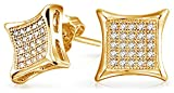 Bling Jewelry Kite Shaped Unisex CZ Stud earrings Gold Vermiel 7mm