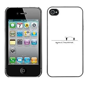 EJOY---Cubierta de la caja de protección la piel dura para el / iPhone 4 / 4S / --Gente Distancia