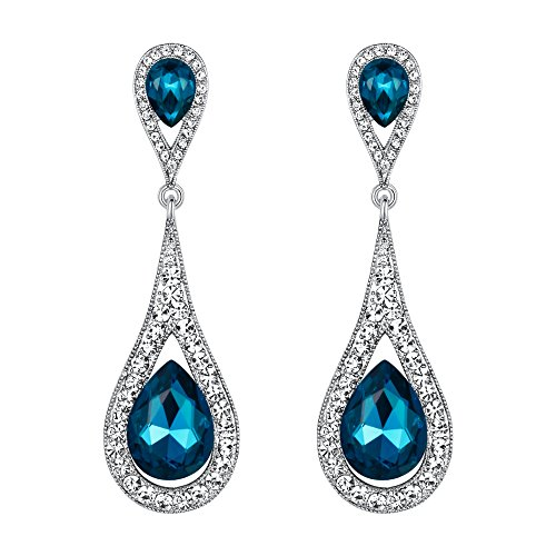 EVER FAITH Women's Austrian Crystal Elegant Dual Teardrop Pierced Dangle Earrings Sea Blue Silver-Tone ()