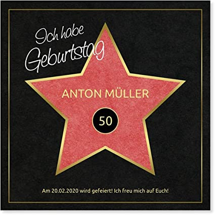 Tarjetas De Invitación De 50º Cumpleaños De Hollywood Star