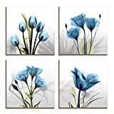 living room decoration ideas Moyedecor Art - 4 Panel Elegant Tulip Flower Canvas Print Wall Art Painting For Living Room Decor And Modern Home Decorations (Four 12X12in, Blue flower prints framed)