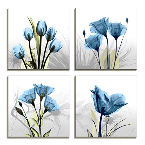 Moyedecor Art - 4 Panel Elegant Tulip Flower Canvas Print Wall Art