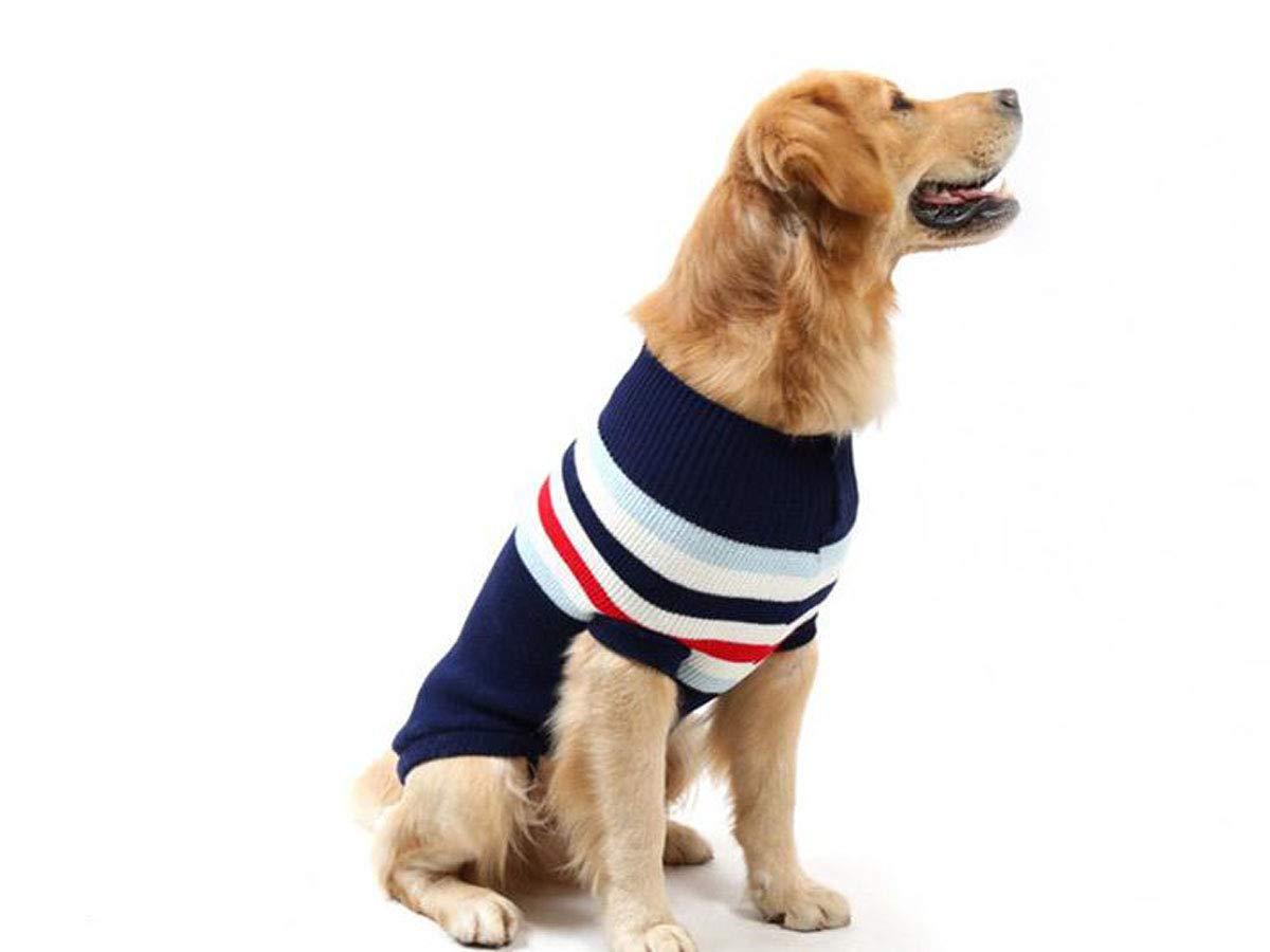 Dark bluee 20  Dark bluee 20  Pet Dog Sweater, Large Dog Autumn and Winter Clothing (color   Dark bluee, Size   20 )