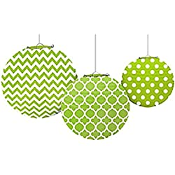 Kiwi Lime Green Quatrefoil Polka Dots Chevron Paper Lanterns (3ct)