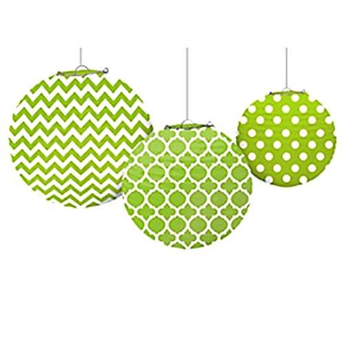 Kiwi Lime Green Quatrefoil Polka Dots Chevron Paper Lanterns (3ct)