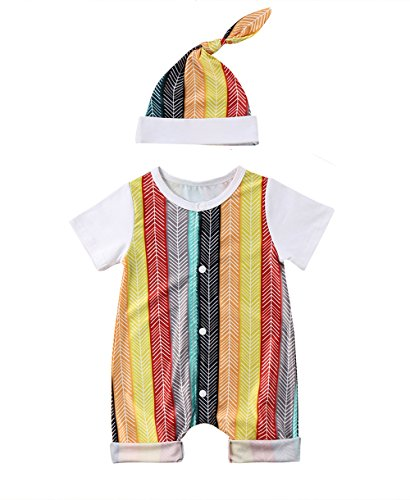 Aliven Newborn Baby Boy Girl Colorful Stripe Short Sleeve Rompers Bodysuits Harem Pants with Hat Clothes Outfits