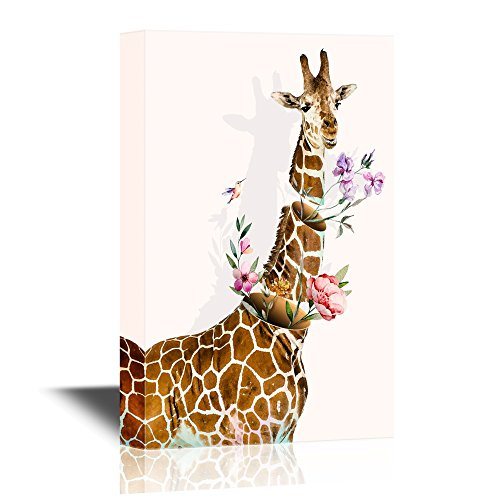 Abstract Art Featuring a Giraffe and Flowers