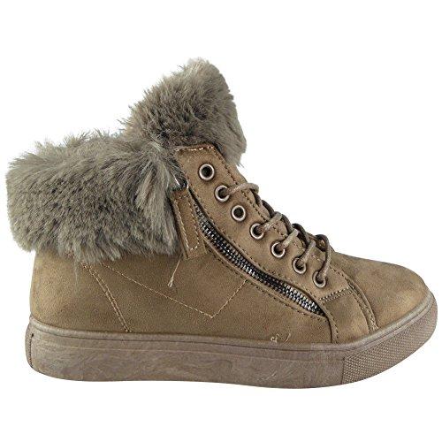 Up planas 3 Lace sintética Zip para mujer Tamaño Look Caqui Loud piel Forro 8 Sneakers de Zapatillas zx67wYvqH