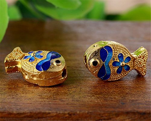 (MFMei 925 Sterling Silver Fish Golden Plated Cloisonne Flat Beads (TL094))