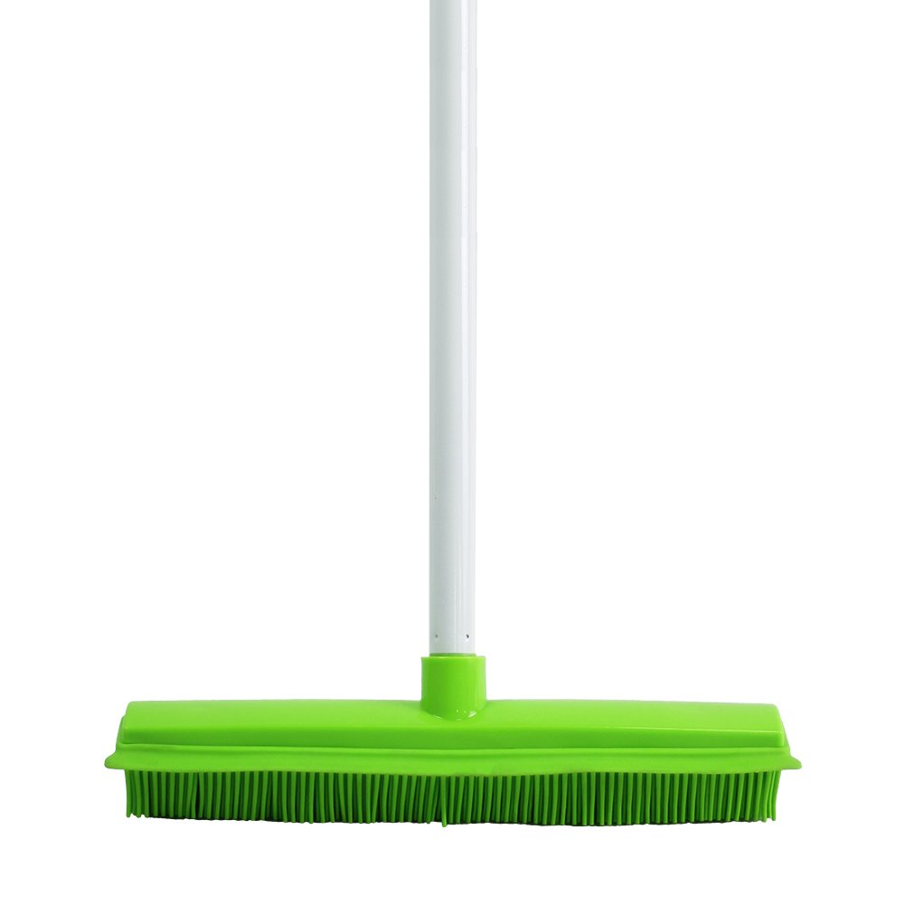 Carpet Broom Extra Long Handle Soft Bristles Rubber and Squeegee Edge Sweeper Push broom, Green