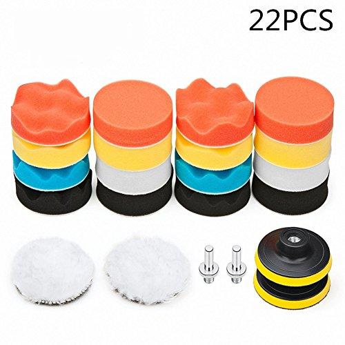 GOODYBUY Car Foam Drill Polishing Pad Kit 22 PCS, 3 Inch Buffing Pads