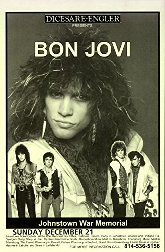 Bon Jovi at Johnstown War Memorial 1986 Retro Art Print — Poster Size — Print of Retro Concert Poster — Features Jon Bon Jovi ,Richie Sambora, Alec John Such, Tico Torres and David Bryan -