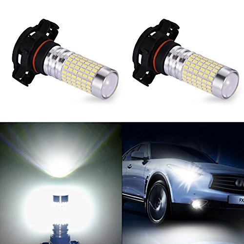Catinbow LED Fog Light Bulbs PSX24W 2504 High Power 144-3014SMD Auto Fog Lights Replacement 1500LM LED Fog Driving Light DRL White 6000K - 2 Pcs