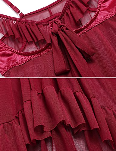 ADOMER Mujer Camisón Interior Babydoll Halter Babydoll Busto Abierto Transparente rojo oscuro