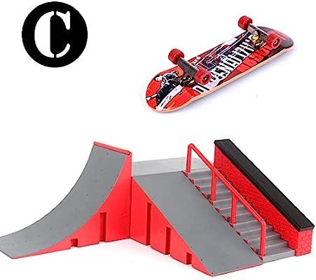 Rampas Skatepark, Mini Kit Diapasón Parque del Patín Monopatín Dedo Entrenamiento en la última Puntales Juguete Regalo de Navidad para Niños (C)