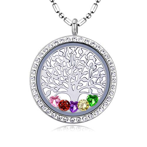 Birthstone Tree of Life Necklace, Screw Open Floating Charm Locket, Included 24 Birthstones & 2 Family Tree Plate, Birthday Gifts for Mom, Mother, Grandmom, Daughter, Son (Screw-Open-Diamond-03) (Birth Trees)
