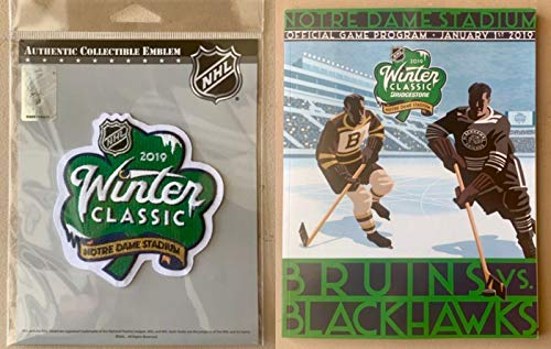 Elusive Dream Marketing Services 2019 Winter Classic Patch and Program Combo Notre Dame Stadium Clover Shamrock BRIDGESTONE Puck Style Jersey Sleeve Blackhawks Bruins