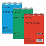 Ampad Efficiency Pocket Notebook, Recycled, 4 X 6 Inches, Single Wire, Top Open, Assorted Covers,3 Notebooks per Pack, Red/Blue/Green (45-094)