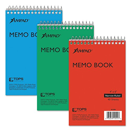 Ampad Efficiency Pocket Notebook, Recycled, 4 X 6 Inches, Single Wire, Top Open, Assorted Covers,3 Notebooks per Pack, Red/Blue/Green - Memo Sheets Ampad