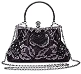 CLOCOLOR Women's Vintage Clutch Handbag Flower Beaded Evening Tote Bag Luxury Printing Beaded Women Handbag