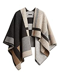 Women 100% Wool Winter Knitted Cashmere Poncho Capes Shawl Cardigans Sweater Coat