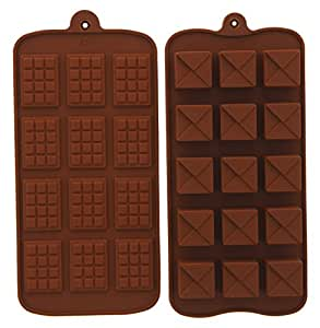"Candy Mold - Chocolate Silicone Molds Bars - Chocolate Truffle Squares, 2 Piece- Pastry Mold - 8"" x 4"""