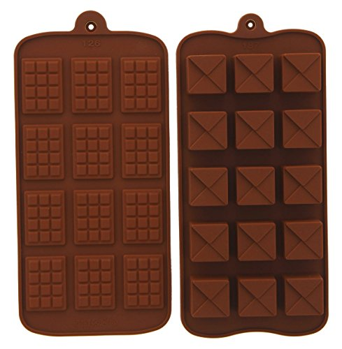 Ice Pastry (2-Piece Silicone Baking Molds - Heat Resistant Silicone Molds, Great as Chocolate Molds, Candy Molds, Pastry Molds, Ice Cube Molds - Chocolate Truffle Squares, 8 x 4 Inches)
