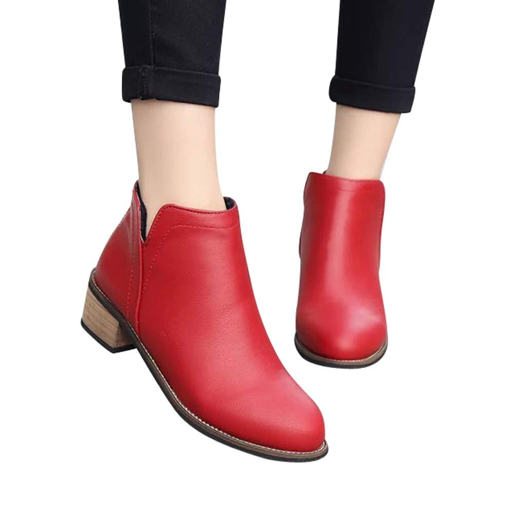 Boots For Women, HOT SALE !! Farjing Fashion Martin Boots Ankle Boots Scrub Thick Heel Lady Boots(US:5,Red)