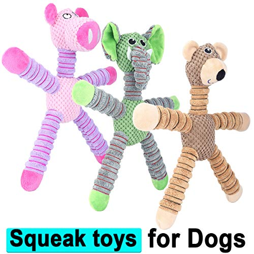 Vovodog 14-Inch Squeaky Plush Dog Toys, Stuffed Animal Plush Chew Toys with Squeakers – Durable Dog Chew Toys for Puppy Small Middle Dogs Reducing Boredom