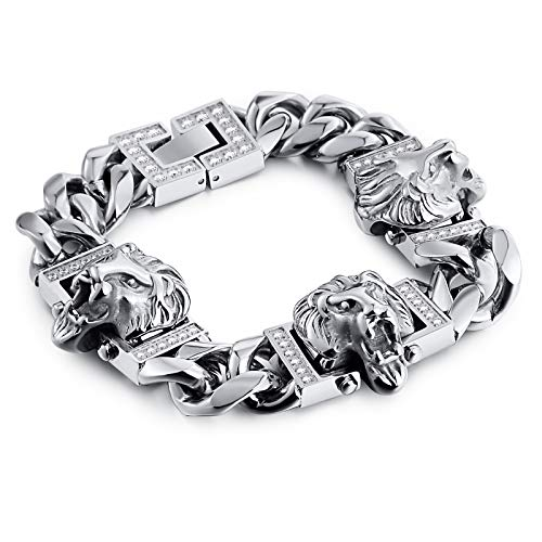 (Gnzoe Jewelry - Mens Stainless Steel Bracelet Lion's Head Chain Bracelet Silver 20CM)