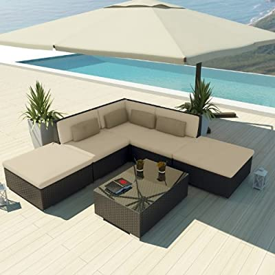 Uduka Outdoor Sectional Patio Furniture Espresso Brown Wicker Sofa Set Porto 6 Light Beige All Weather Couch