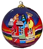 Home and Holiday Shops Lawrence Vargas Southwest Three Kings Reverse Painted Glass Christmas Ornament