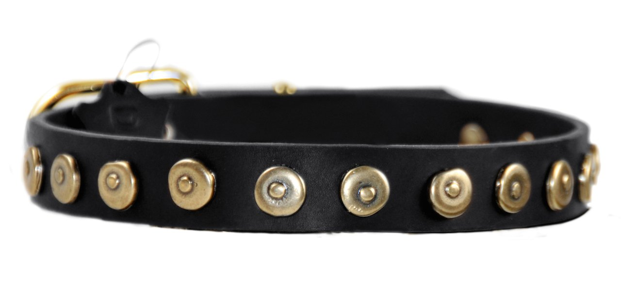 Dean and Tyler  DOT MATRIX  Dog Collar Solid Brass Hardware Black Size 81cm x 3cm Width. Fits neck size 30 Inches to 34 Inches.