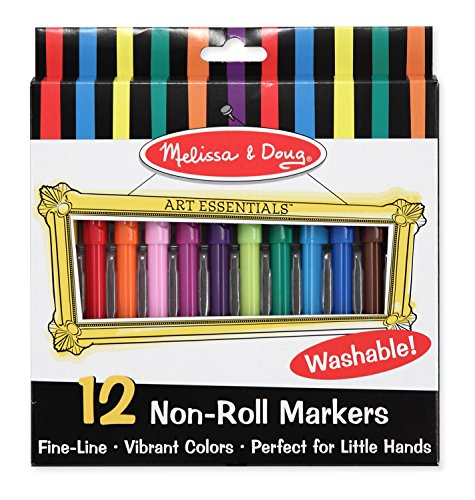 Melissa & Doug Art Essentials Marker Set - 12 Non-Roll Washable Markers