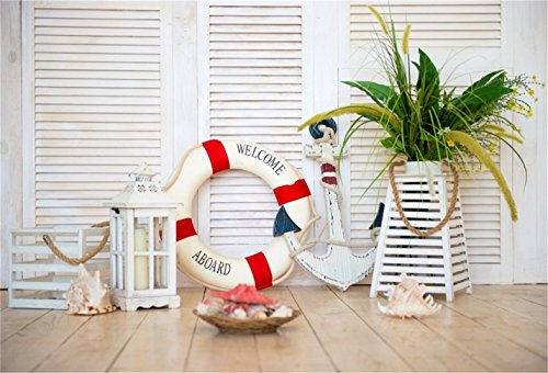 CSFOTO 5x3ft Background for Decor in The Style of Sea Travel Suitcases Anchor Photography Backdrop Lifebuoy Lantern Arine Element Starfish Children Room Child Photo Studio Props Vinyl Wallpaper