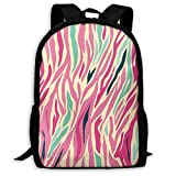 Adult Travelc Laptop Backpack,Funky Fashion Pattern With Colorful Zebra Stripes Pastel Tones Ethnic Modern,College School Computer Bookbag