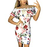 Clothful  Women Dress, Womens Ladies Sleeveless Floral Print Lace Applique Ruffled Bodycon Mini Dress White