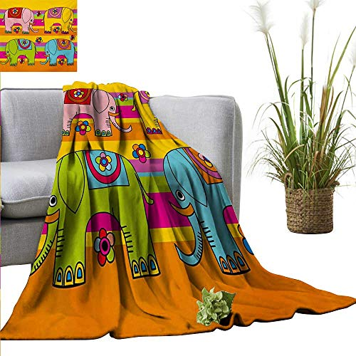 Weighted Blanket for Kids Elephant Nursery,Funky Floral Eastern Elephants Colorful Hand Drawn Asian Fantasy Figures,Multicolor Weighted Blanket for Adults Kids Better Deeper Sleep ()