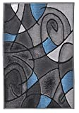 Rugs 4 Less Collection Abstract Contemporary Modern Door Mat Area Rug, Blue Grey Black Design R4L 860 (2'X3′) For Sale