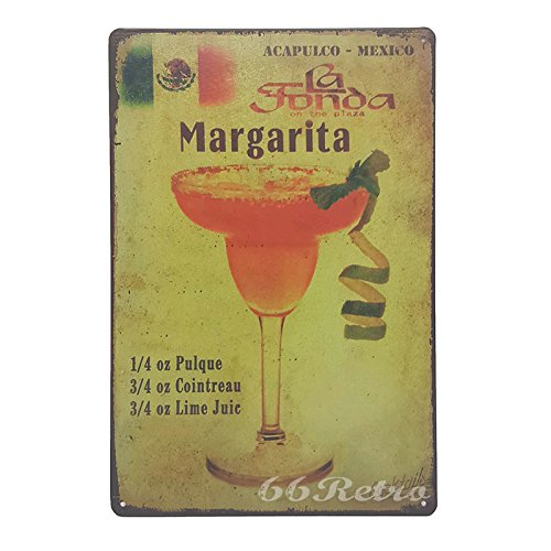66Retro Recipe For A Margarita, Vintage Retro Metal Tin Sign, Wall Decorative Sign, 20cm x 30cm