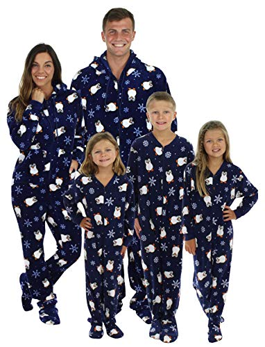 SleepytimePjs Family Matching Navy Penguin Onesie PJs Footed