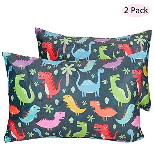 MHJY Toddler Pillowcase, 2 Pcs Soft Fleece Kids Pillow Cover Envelope Travel Pillow Case, Fits 13″x 18″,14″x 19″Kids Pillows,Dinosaurs