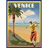 Venice Beach Florida Art Deco Style Vintage Travel Poster by Aurelio Grisanty