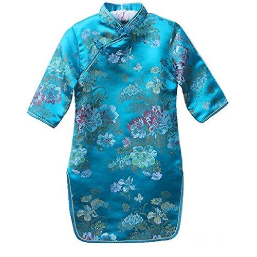 Hooyi Baby Girl Medium Sleeve Dresses Cheongsam Chi-Pao Party Costume (Blue, 2) ()