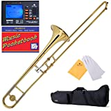 Mendini B-Flat Slide Trombone, Gold Lacquered and Tuner, Case, Pocketbook - MTB-L+92D+PB