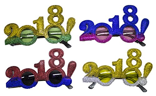 4 Pack Of 2018 New Years Eve Party Glasses (Two Tone Glitter!)