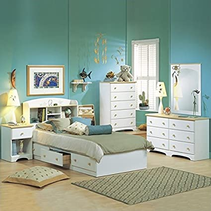 South Shore Newbury Kids White Twin Wood Captainu0027s Bed 4 Piece Bedroom Set